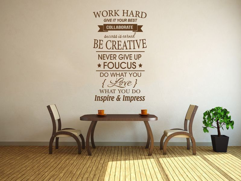 Work Hard Inspirational wall art quote Vinyl Wall Decal Wall Sticker